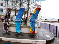 three painted eagles near canada place Vancouver, British Columbia, Canada, North America