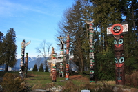 group of totems in stanley park