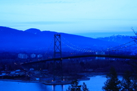 lion gate bridge at night